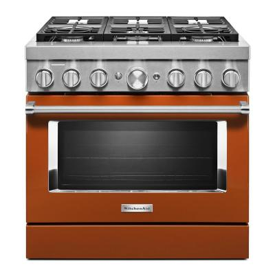 36 in. 5.1 cu. ft. Dual Fuel Freestanding Smart Range with 6-Burners in Scorched Orange