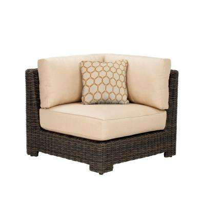Northshore Corner Patio Sectional Chair with Harvest Cushion and Tessa Barley Throw Pillow -- CUSTOM