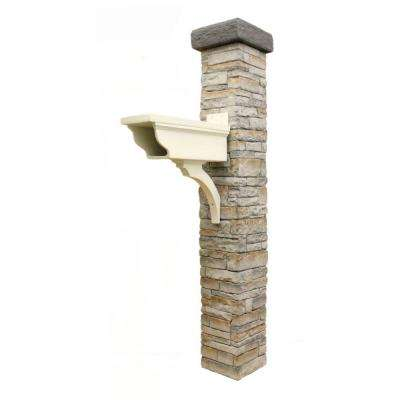 Gray Stacked Stone Newspaper Holder and Flat Cap Mailbox Post