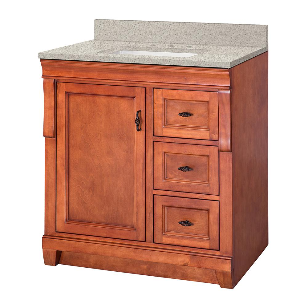 Home Decorators Collection Naples 31 in. W x 22 in. D Vanity in Warm Cinnamon with Engineered Marble Vanity Top in Sedona with White Sink
