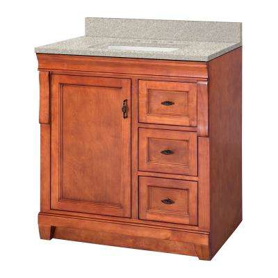 Naples 31 in. W x 22 in. D Vanity in Warm Cinnamon with Engineered Marble Vanity Top in Sedona with White Sink