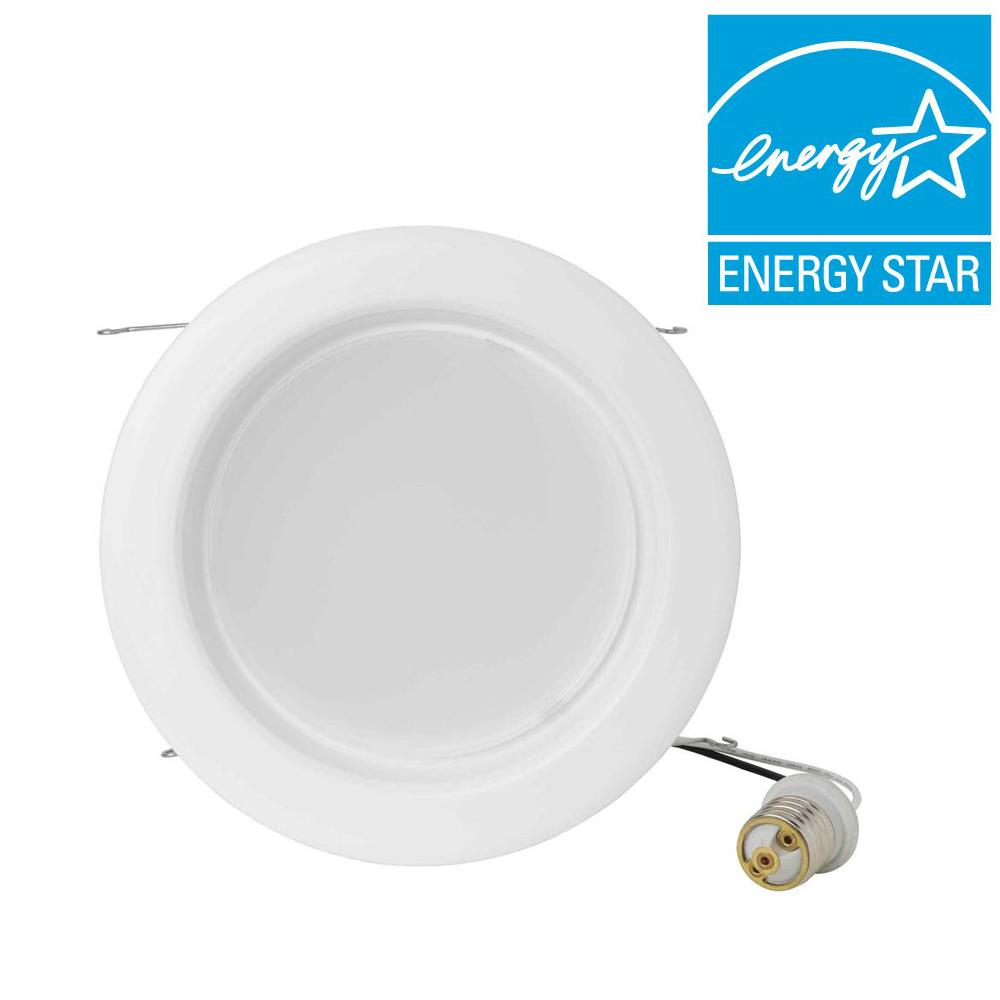 Eti 6 in. White Recessed High Powered LED Dimmable Down Lighting Can Kit
