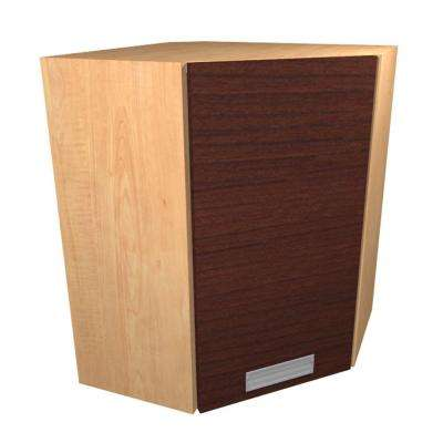 Genoa Ready to Assemble 24 x 38 x 12 in. Angle Corner Wall Cabinet with 1 Soft Close Door in Cherry