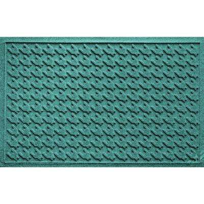 Houndstooth Aquamarine 24 in. x 36 in. Polypropylene Door Mat