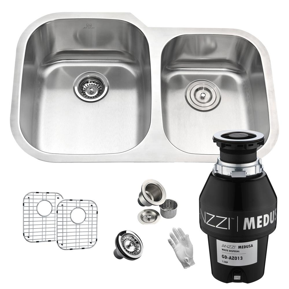 Moore Undermount Stainless Steel 32 in. 60/40 Double Bowl Kitchen Sink