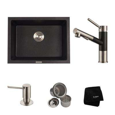 All-in-One Drop-In/Undermount Granite Composite 24 in. Single Bowl Kitchen Sink with Faucet in Stainless Steel and Black