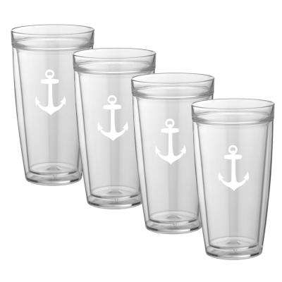 Kasualware Anchor 22 oz. Doublewall Tall Tumbler (Set of 4)