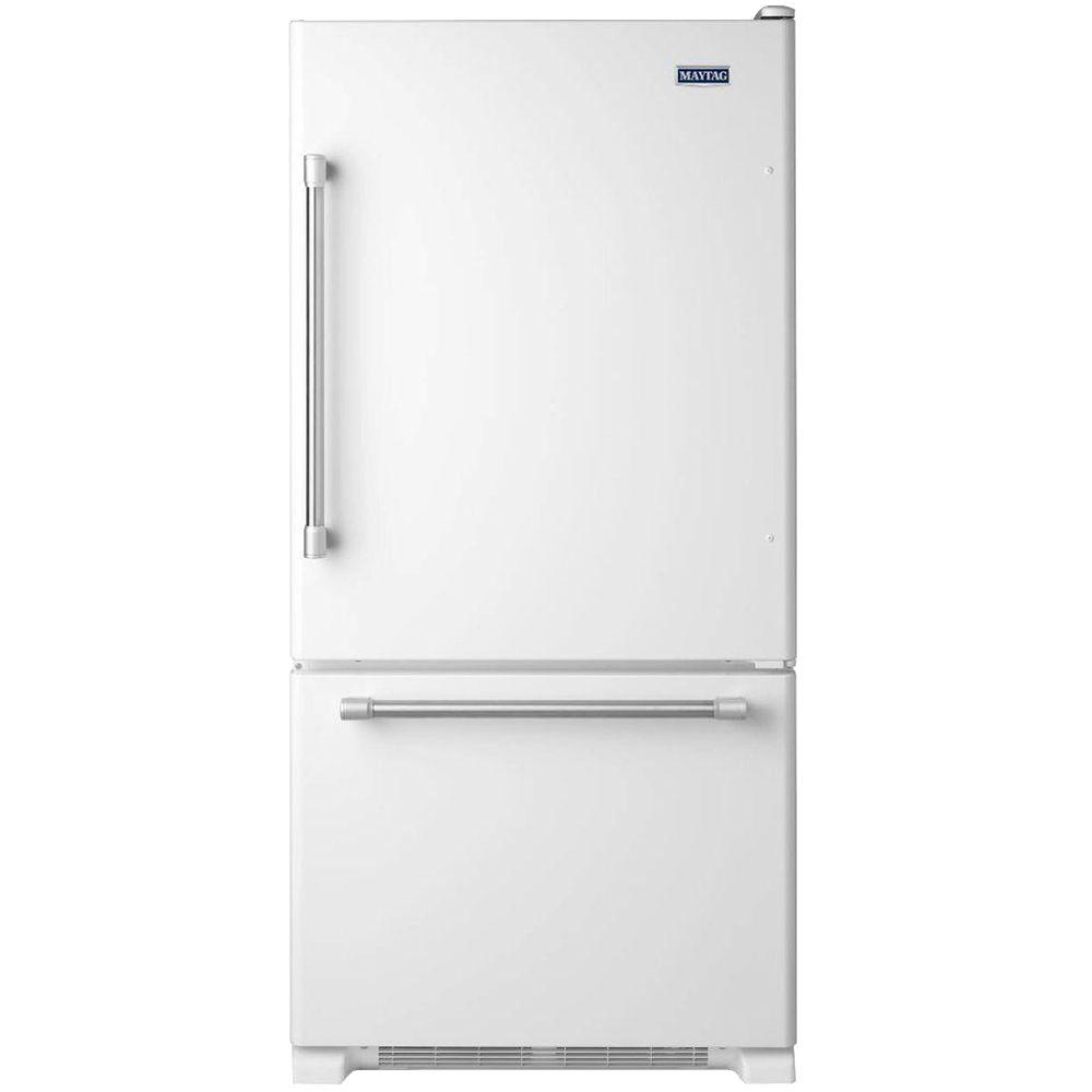 Maytag 30 in. W 18.7 cu. ft. Bottom Freezer Refrigerator in White with Stainless Steel Handles