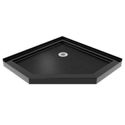 SlimLine 40 in. x 40 in. Neo-Angle Shower Base in Black Color