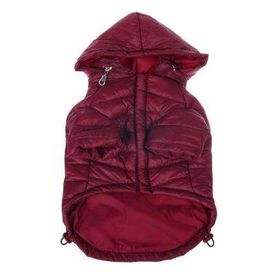 Medium Burgundy Red Lightweight Adjustable Sporty Avalanche Dog Coat with Removable Pop Out Collared Hood