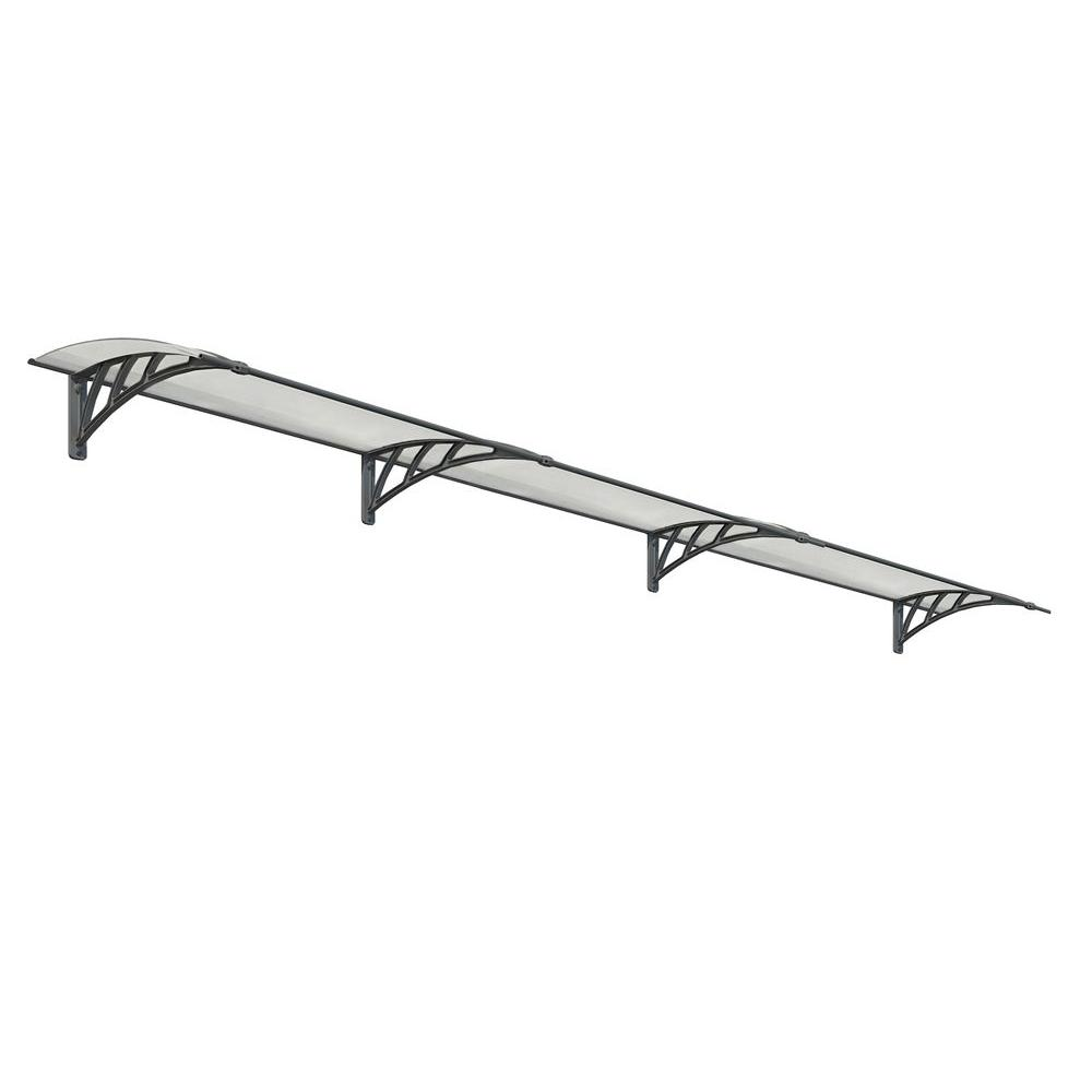 Palram Neo 4050 13 ft. 5 in. Gray/Clear Twin-wall Door Canopy Awning