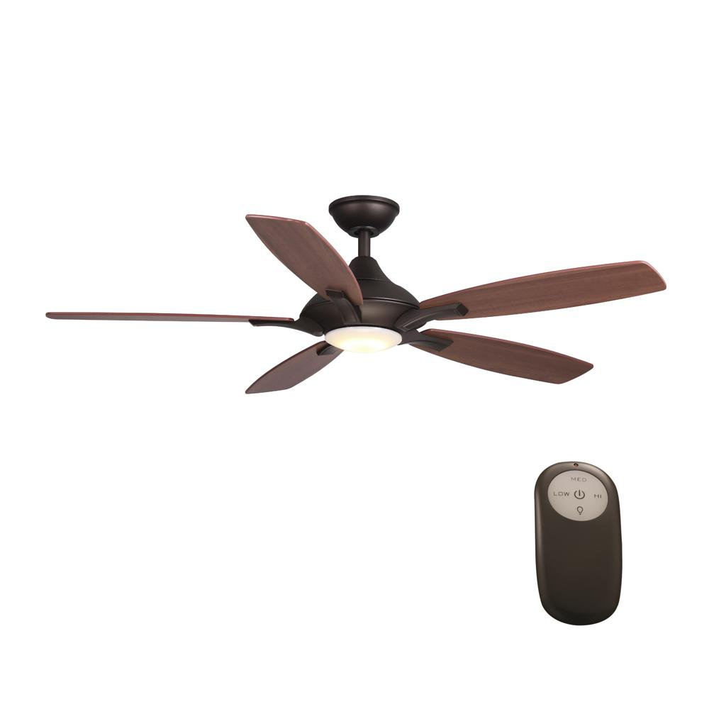 Home Decorators Collection Petersford 52 In Integrated Led Indoor Oil Rubbed Bronze Ceiling Fan With