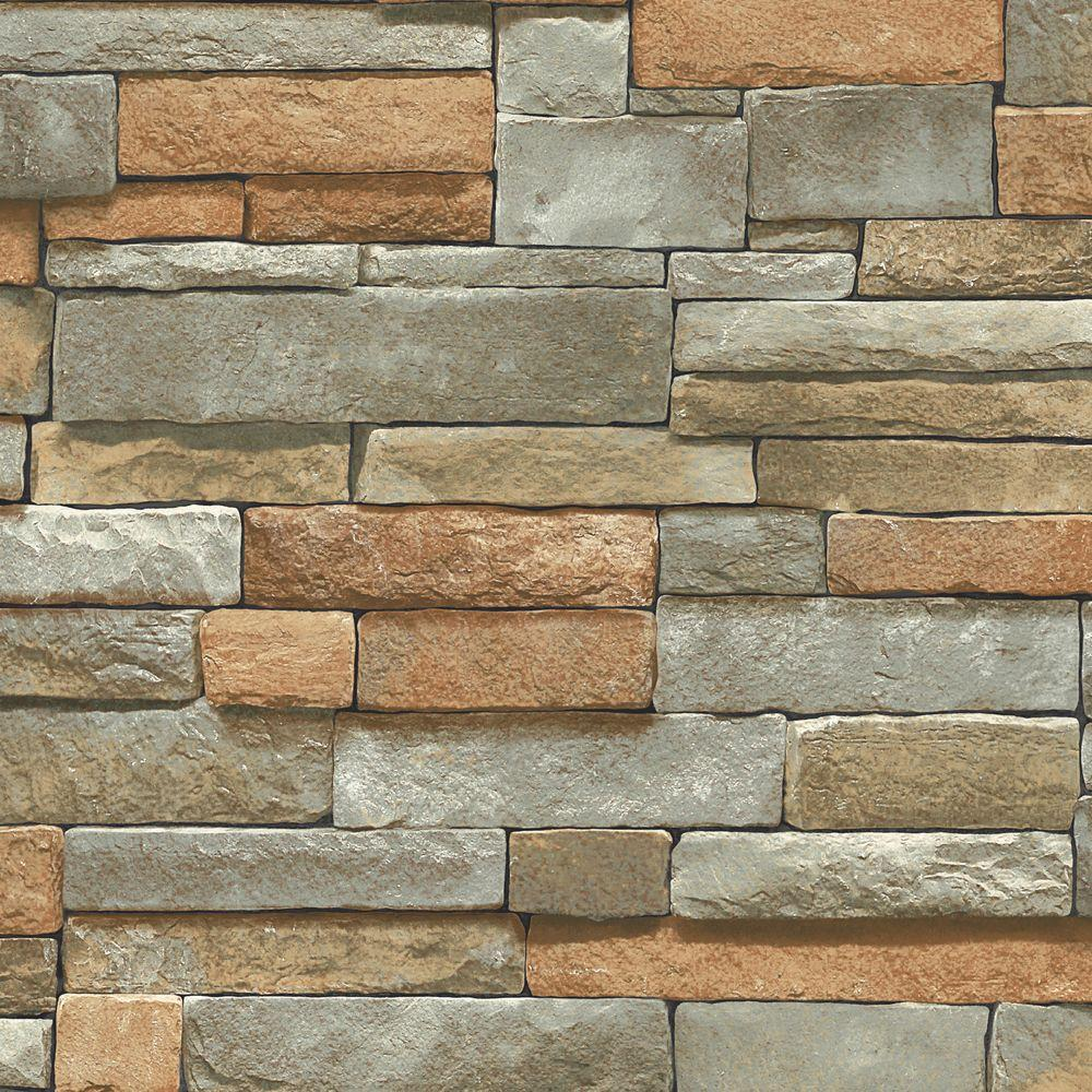 The Wallpaper Company 8 in. x 10 in. Multi Color Ledge Stone Wallpaper Sample