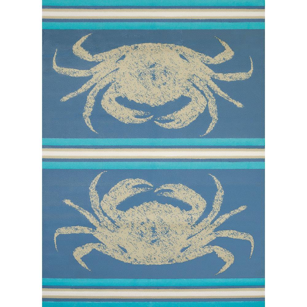 Panama Jack Island Breeze Stone Crab Blue 3 ft. x 4 ft. Indoor Rug
