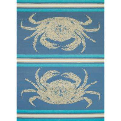 Panama Jack Island Breeze Stone Crab Blue 5 ft. 3 in. x 7 ft. 2 in. Indoor Rug