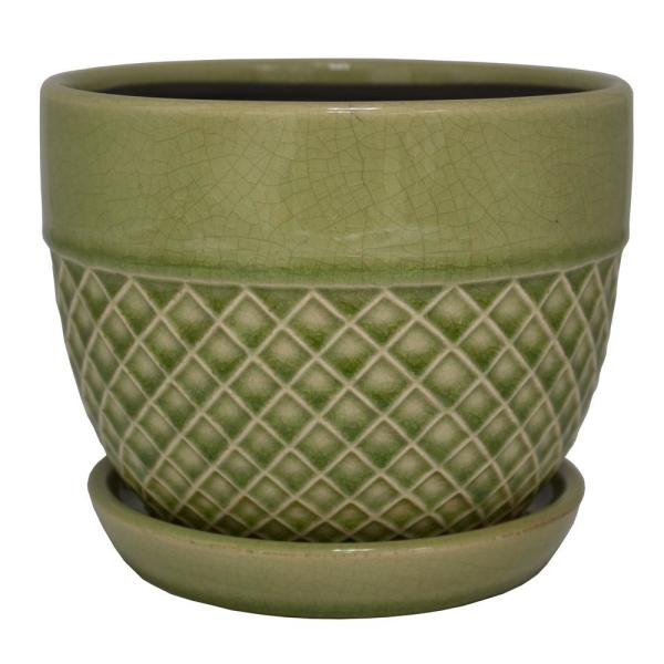 6 in. Dia Green Acorn Bell Ceramic Planter