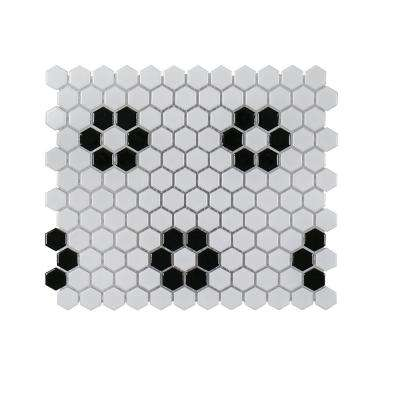 Floral Terrace 10.0625 in. x 11.6875 in. x 6 mm Porcelain Mosaic Tile