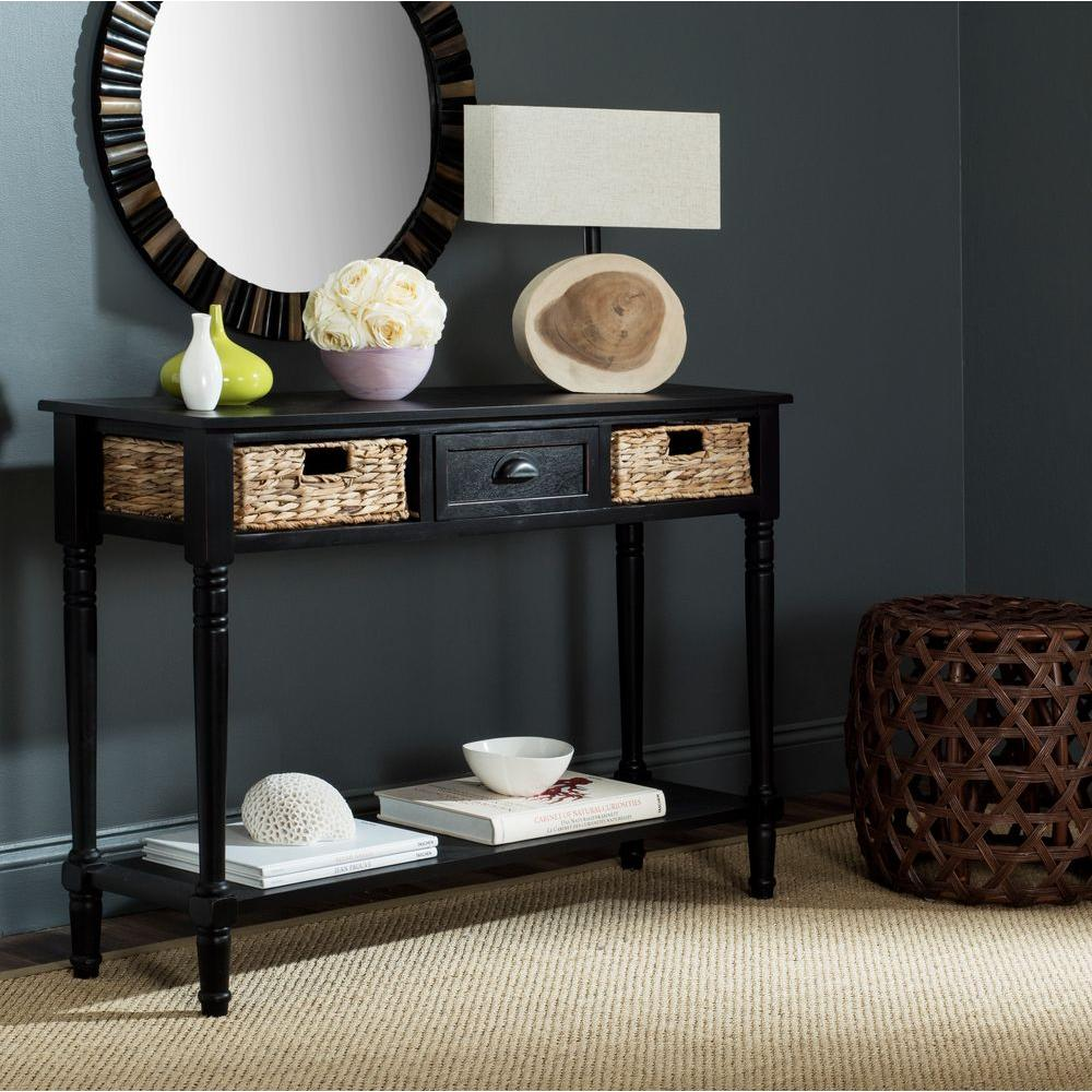 Attrayant Safavieh Christa Distressed Black Storage Console Table
