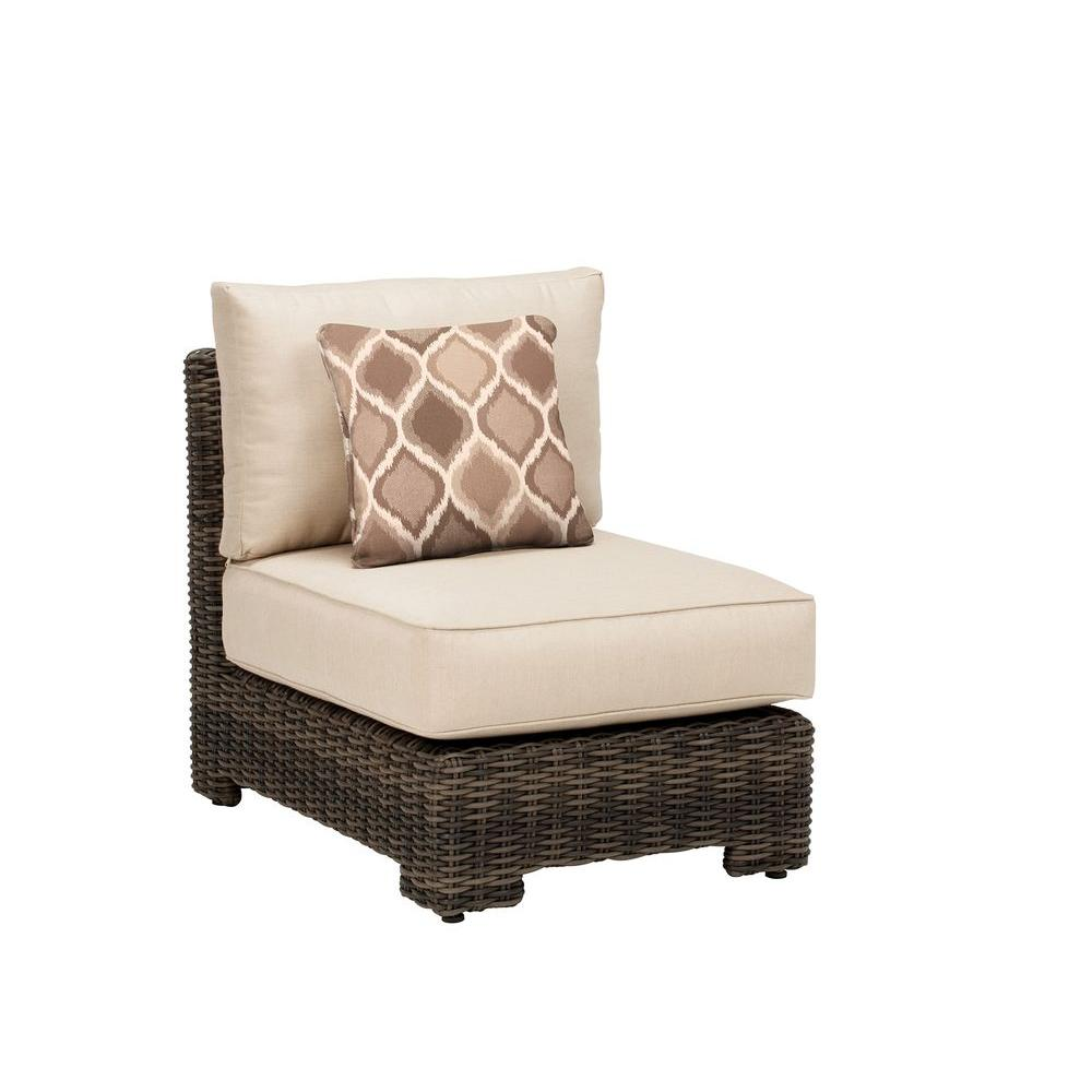 Brown Jordan Northshore Middle Armless Patio Sectional Chair with Sparrow Cushion and Empire Stonehenge Throw Pillow -- CUSTOM