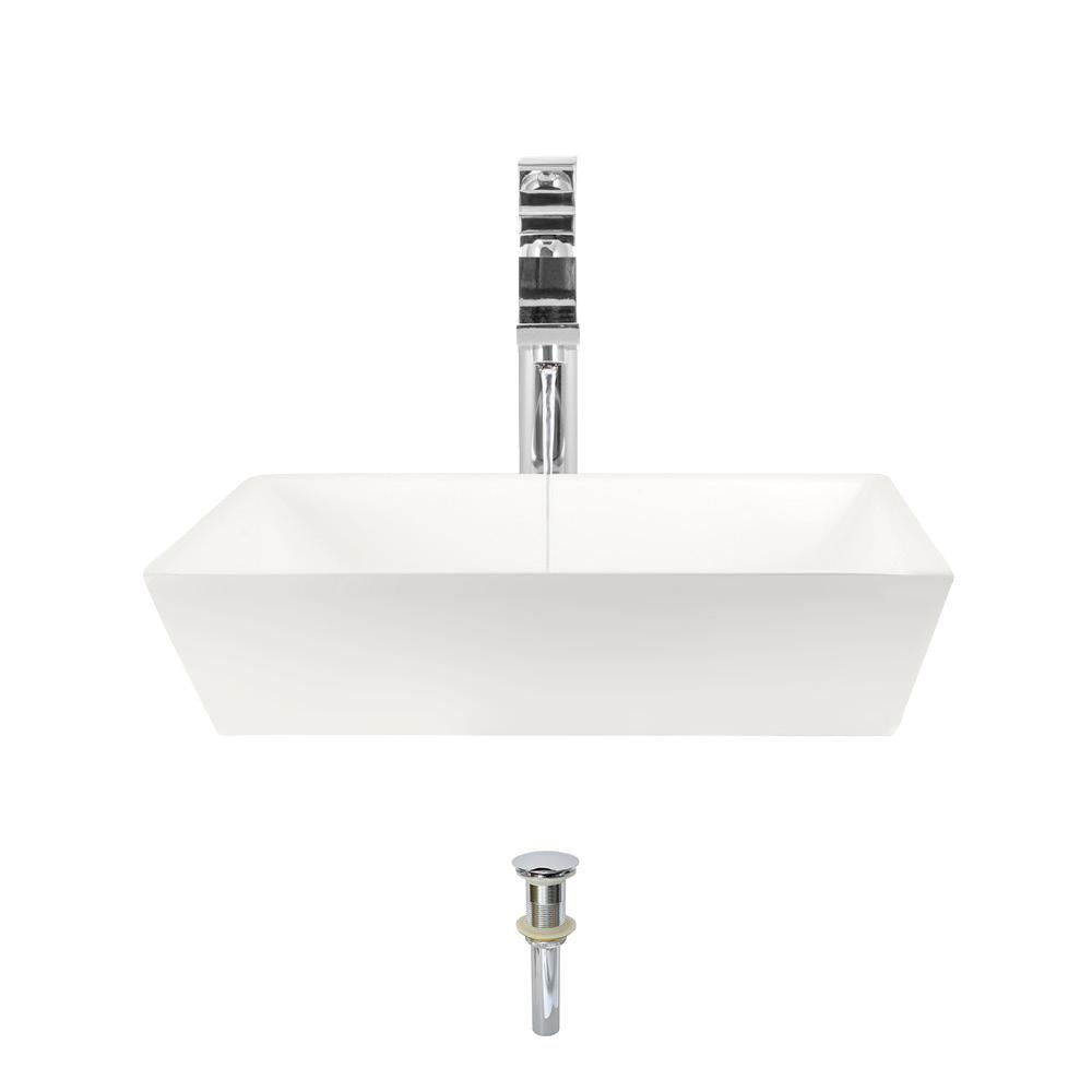 MR Direct Porcelain Vessel Sink in Bisque with 721 Faucet and Pop-Up Drain in Chrome