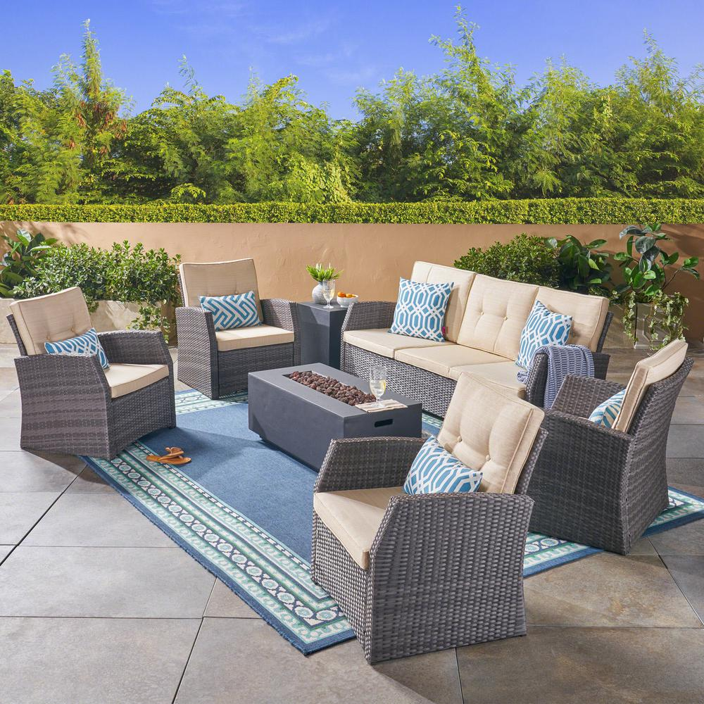 Noble House Sanger Gray 7-Piece Wicker Patio Fire Pit Conversation Set with Beige Cushions