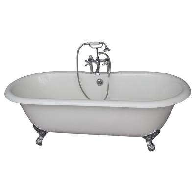 5.6 ft. Cast Iron Imperial Feet Double Roll Top Tub in White with Polished Chrome Accessories