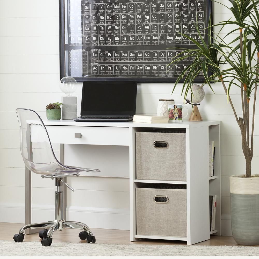 South S Interface Pure White Desk With Baskets