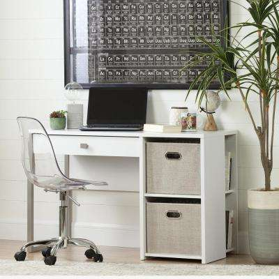 Interface Pure White Desk with Baskets