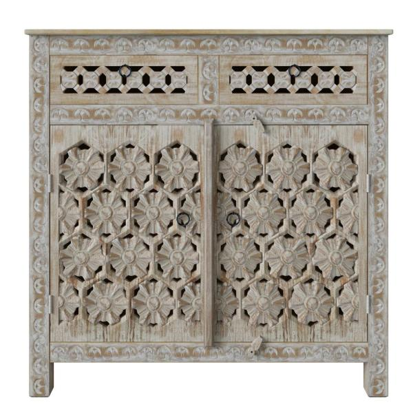 Lime Wash Quentin Filigree Design Wood Cabinet with Drawers
