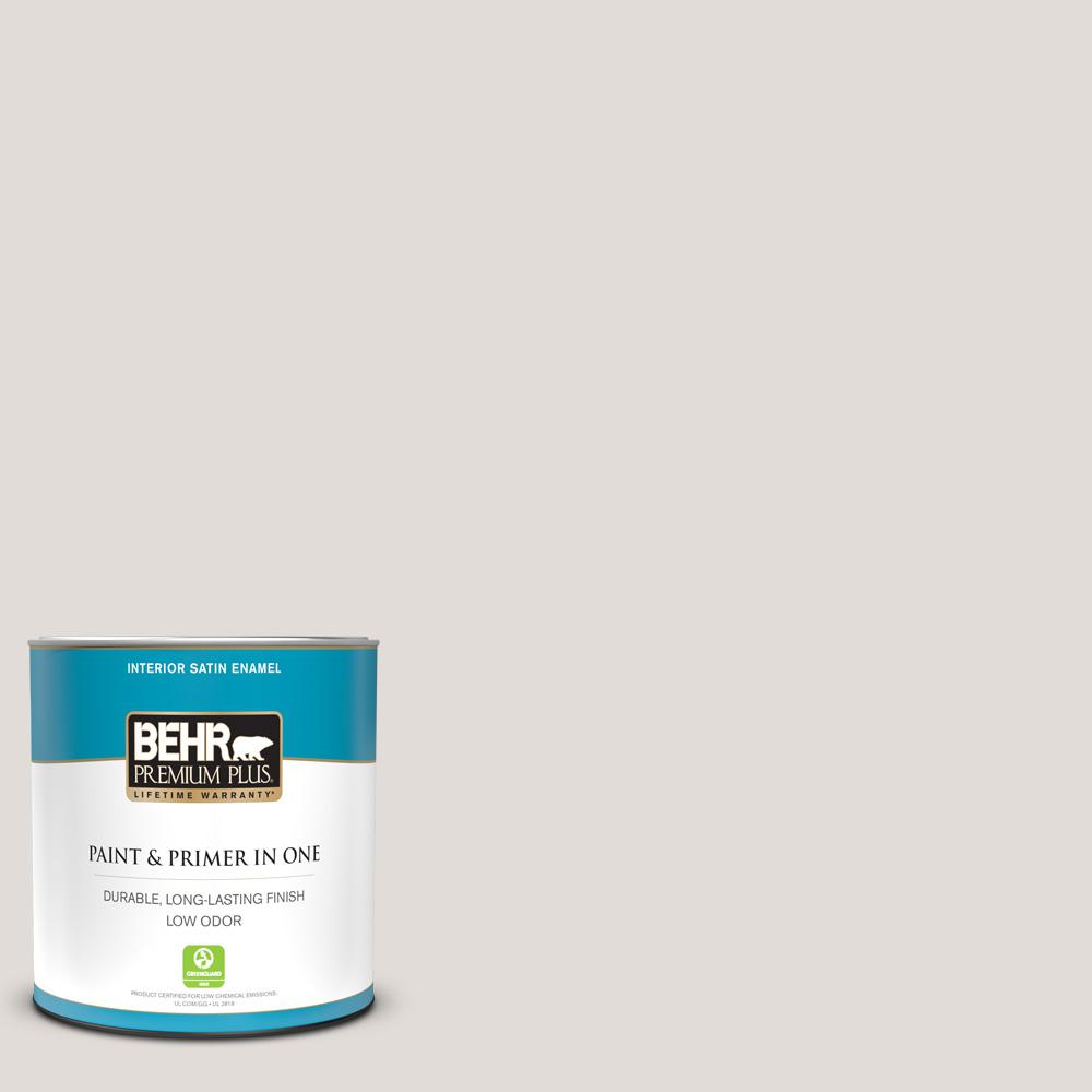 Behr Premium Plus 1 Qt Ppf 11 Shaded Hammock Satin Enamel Low Odor Interior Paint And Primer In One 705004 The Home Depot