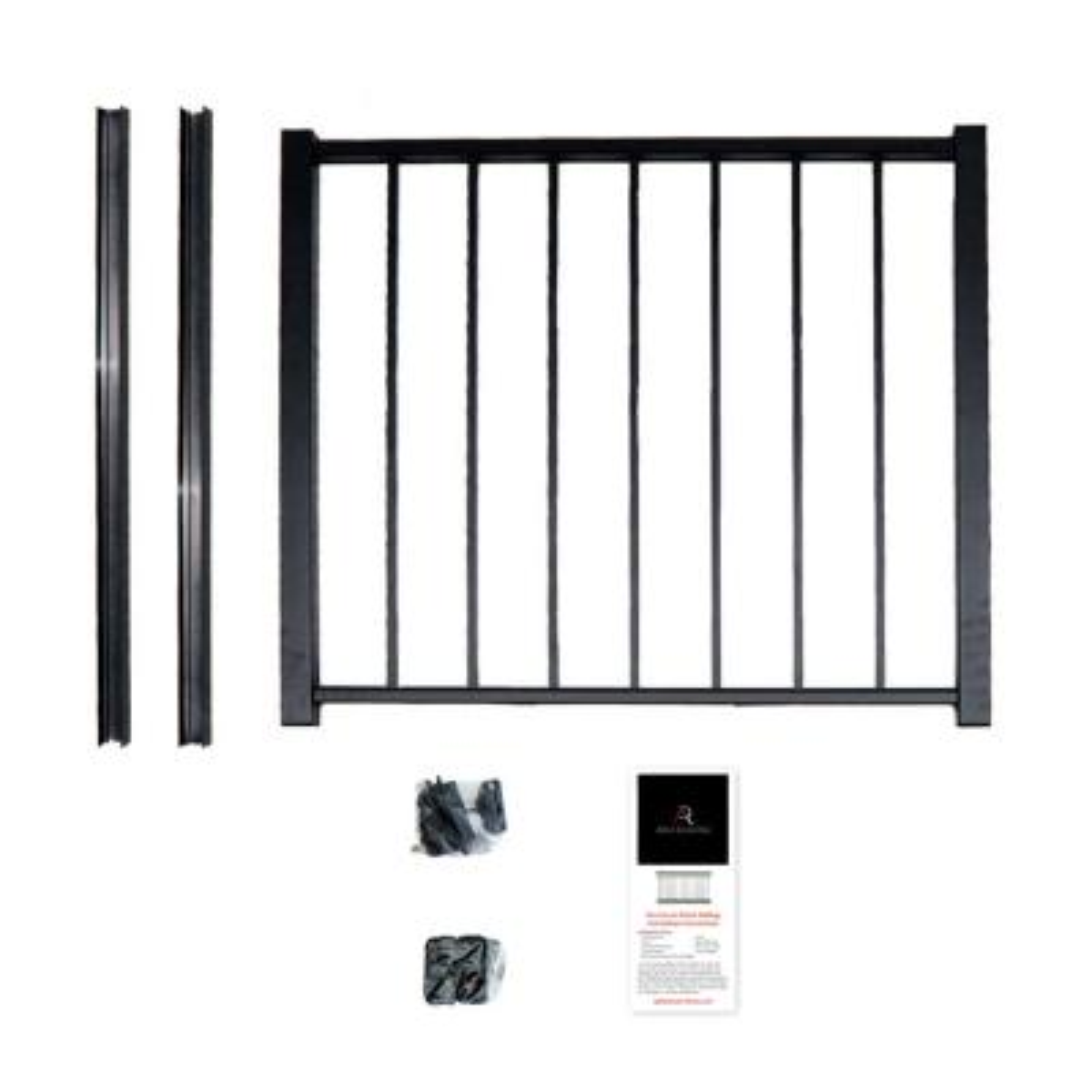 40 in. x 36 in. Black Powder Coated Aluminum Preassembled Deck Gate Kit