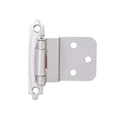 Satin Nickel Self-Closing 3/8 in. Inset Cabinet Hinge (5-Pairs)