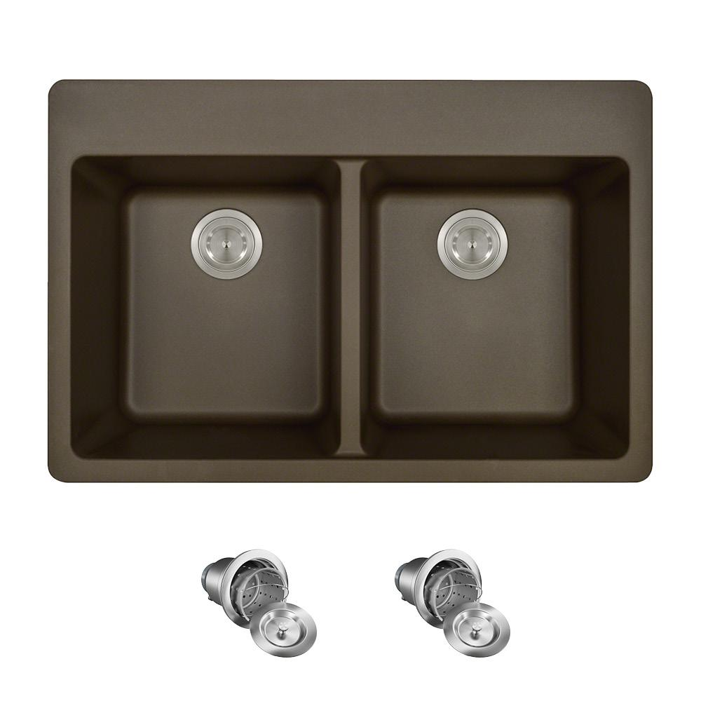 MR Direct All-in-One Drop-in Granite Composite 33 in. 3-Hole Equal Double Bowl Kitchen Sink in Mocha