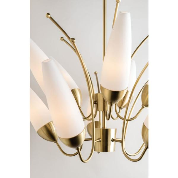 Mitzi By Hudson Valley Lighting Amee 5 Light Aged Brass Chandelier With Opal Matte Glass Shade H262805 Agb The Home Depot