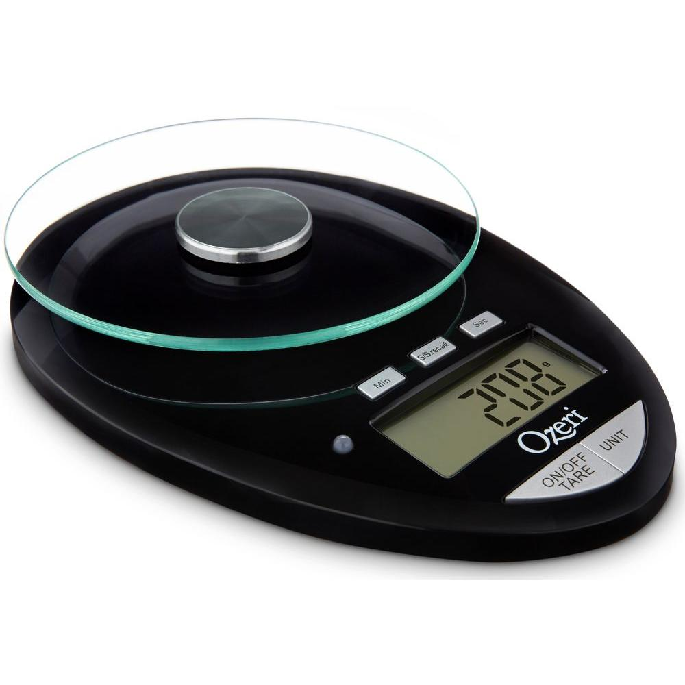Ozeri Pro II Digital Kitchen Scale with Removable Glass Platform and Countdown Kitchen Timer (1 g to 12 lbs. Capacity)