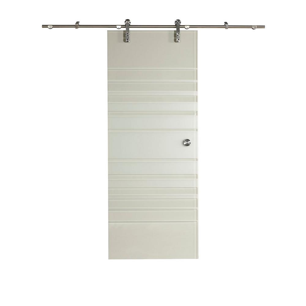 Pinecroft 32 In X 81 In Silhouette Glass Barn Door With Sliding
