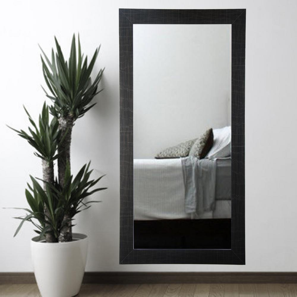 Scratched black tall framed mirror bm005t 1 the home depot for Tall framed mirror