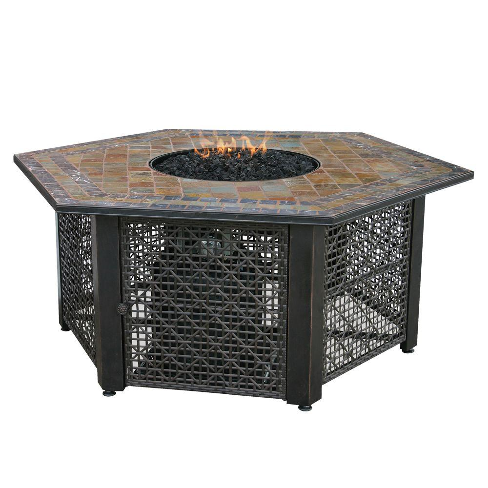 UniFlame 55 in. W Bronze Frame Slate Mosaic Tile Hexagon Mantle LP Gas Fire Pit with Electronic Ignition and Black Fire Glass