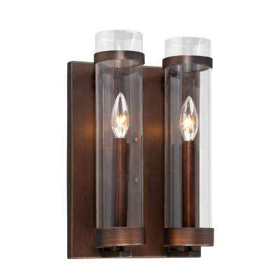 Milan Collection 2-Light Rubbed Bronze Wall Sconce with Clear Glass