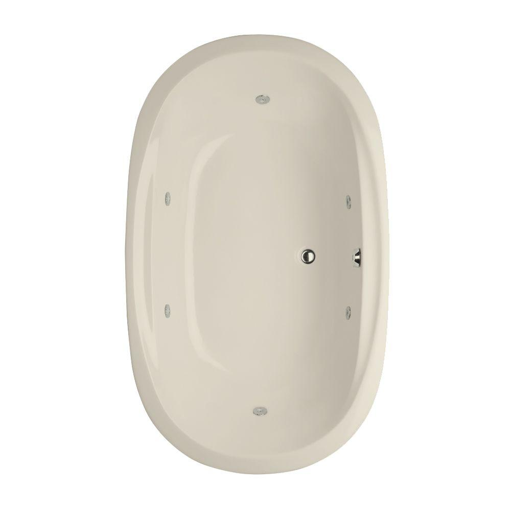 Studio Dual Oval 5.5 ft. Reversible Drain Whirlpool Tub in Biscuit
