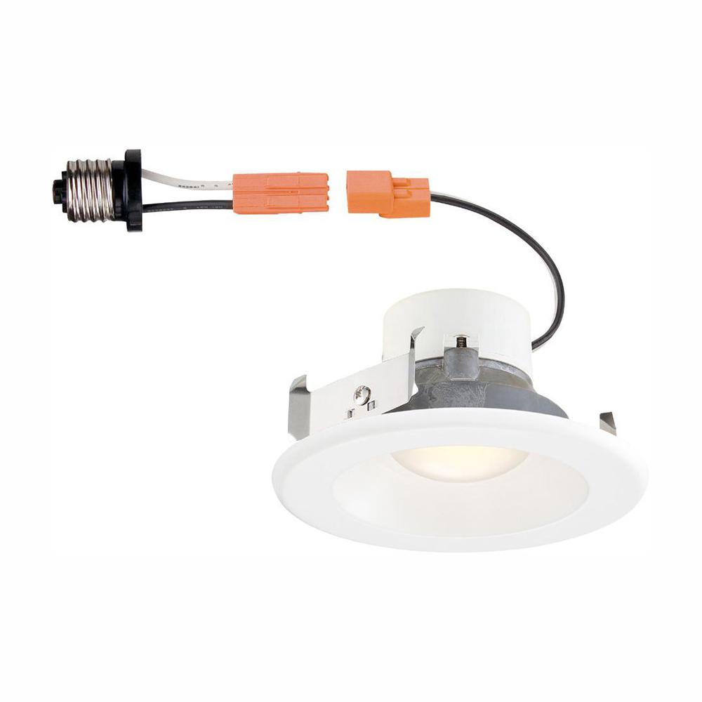 Commercial Electric 4 In White Integrated Led Recessed Trim With Changeable Ring