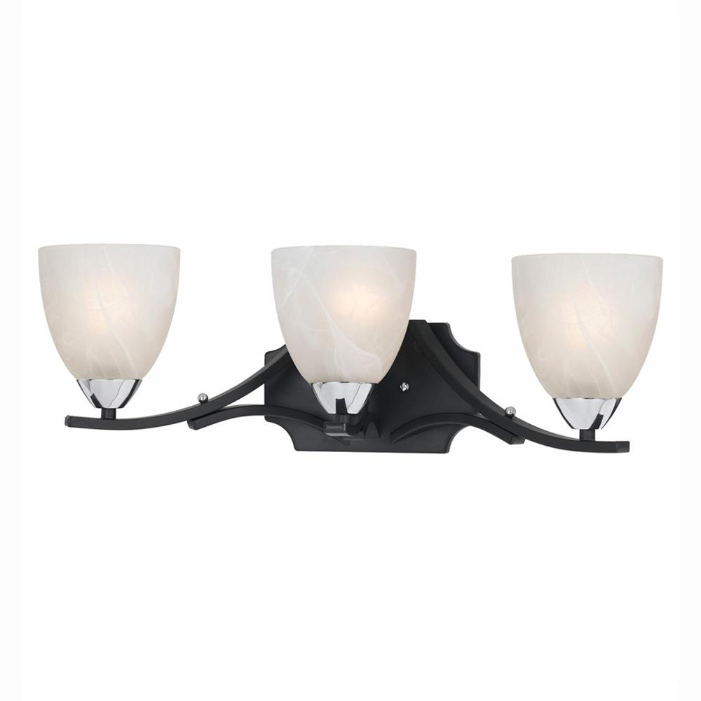 black bathroom light lumenno athens 3 light black with chrome accents bath 12093
