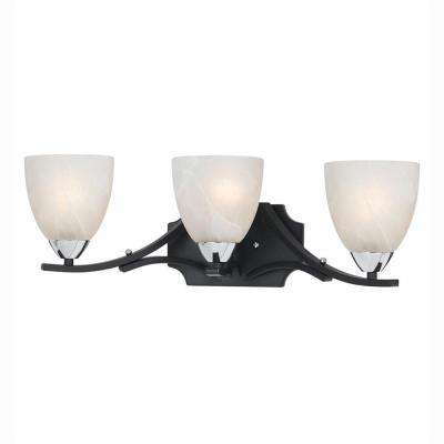 Athens 3-Light Black with Chrome Accents Bath Vanity Light