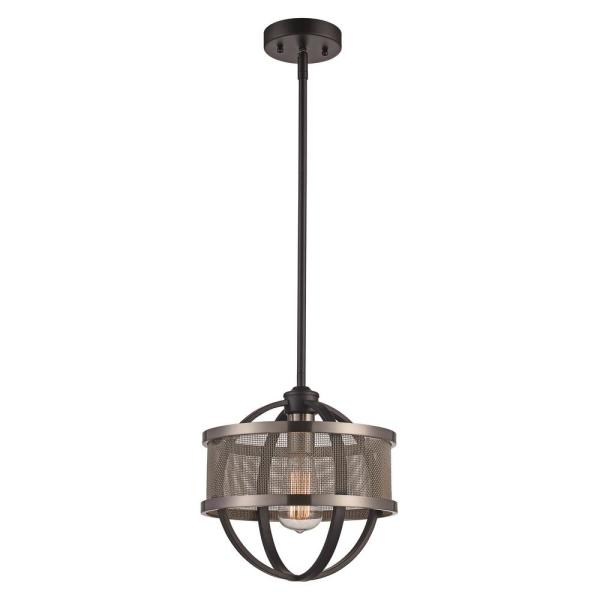1 Light Black and Brushed Nickel Mini Pendant with Metal Shade