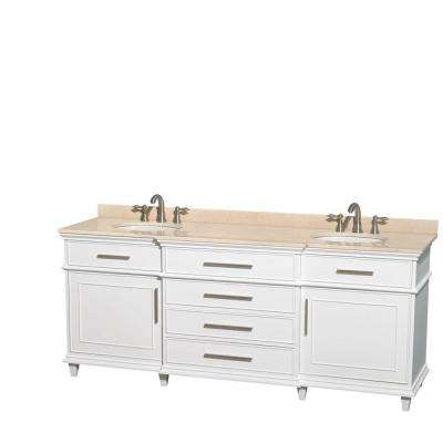 Berkeley 80 in. Double Vanity in White with Marble Vanity Top in Ivory and Oval Basin