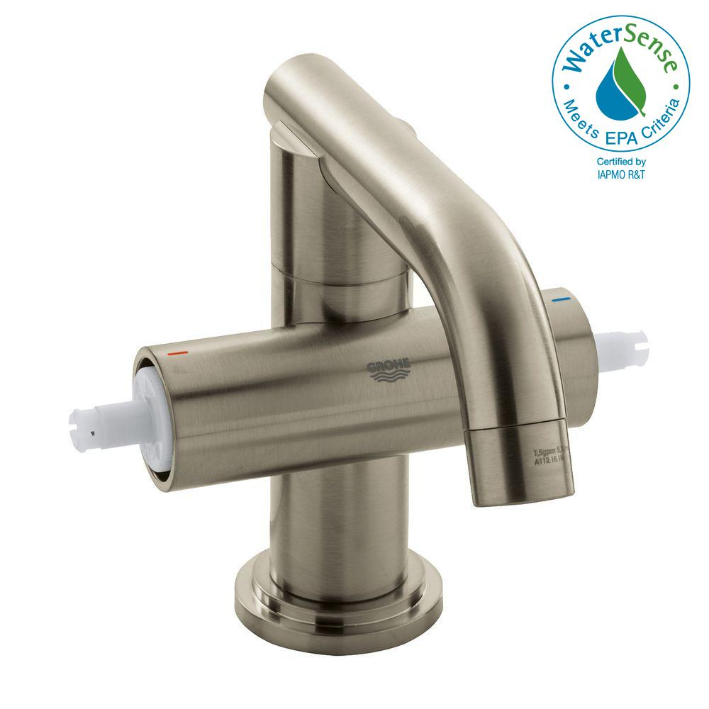 Atrio Single Hole 2-Handle Bathroom Faucet in Brushed Nickel Infinity (Handles