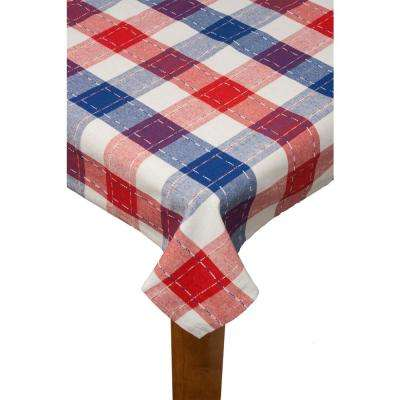 Americana Plaid 70 in. Red Round 100% Cotton Tablecloth
