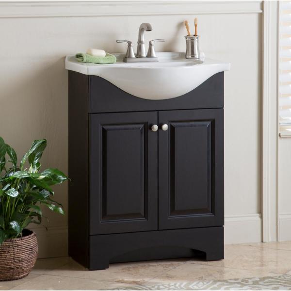 Glacier Bay Chelsea 26 In W X 36 In H X 18 In D Bathroom Vanity In Charcoal With Porcelain Vanity Top In White With White Sink Ch24p2 Cl The Home Depot