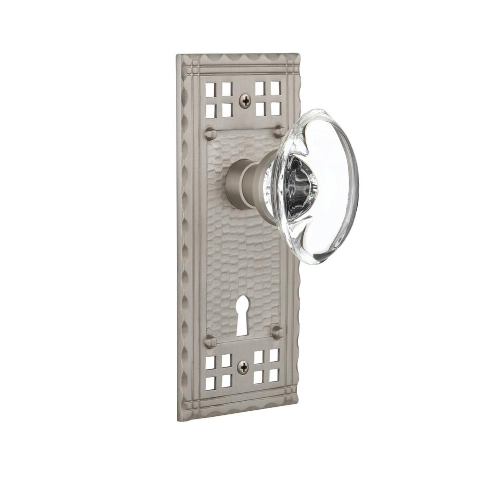 Craftsman Plate with Keyhole 2-3/4 in. Backset Satin Nickel Passage Oval