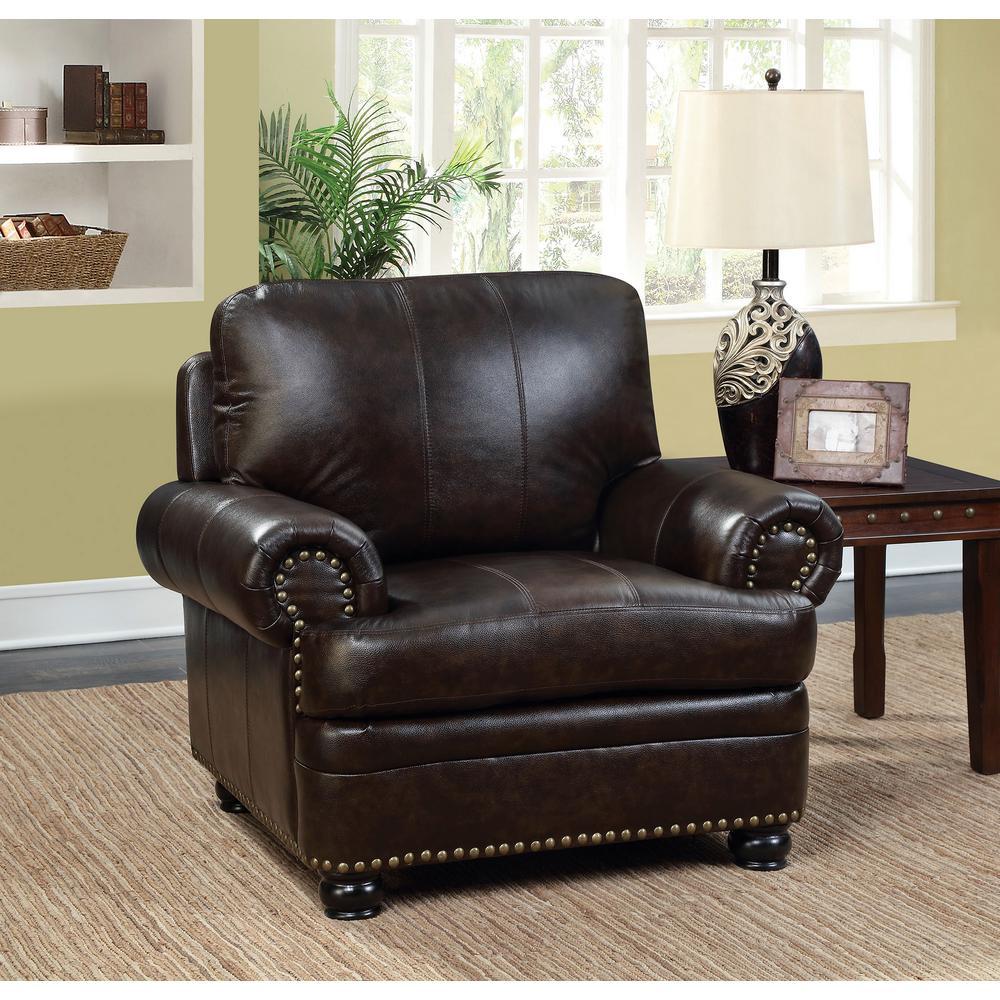Reinhardt Dark Brown Transitional Style Living Room Chair